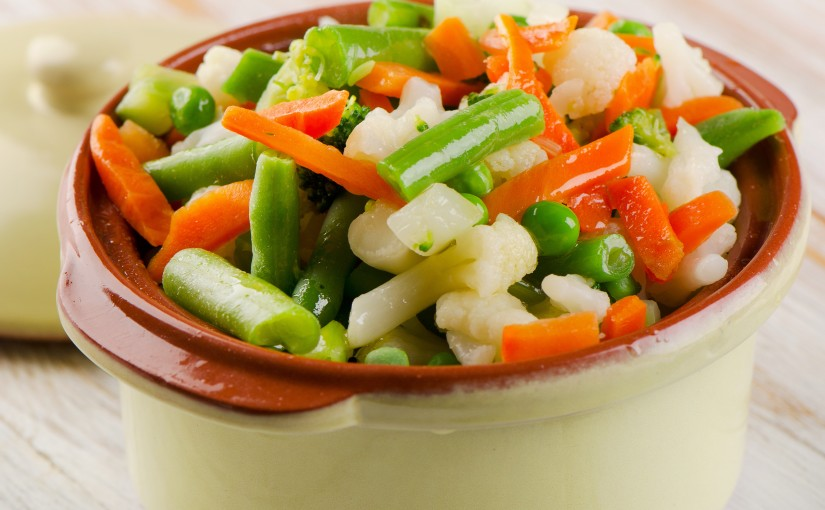 Bowl of steamed vegetables