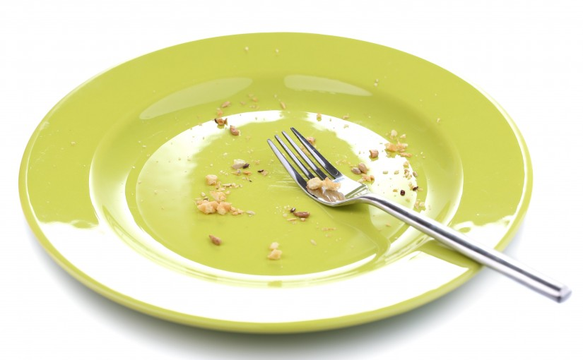 Crumbs on plate